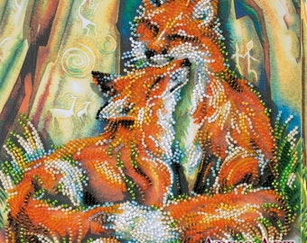 Cute Foxes DIY Bead Embroidery Kit Picture Housewarming Gift Idea Wall Artwork Beadwork