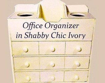 Upcycled Office Organizer with 2 Cubby Holes on Top for Pencils, Letters and Office Supplies. Distressed Shabby Chic Ivory Office Decor