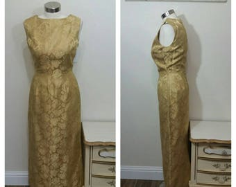 1950s Brocade Evening Gown, Gold, Size Small