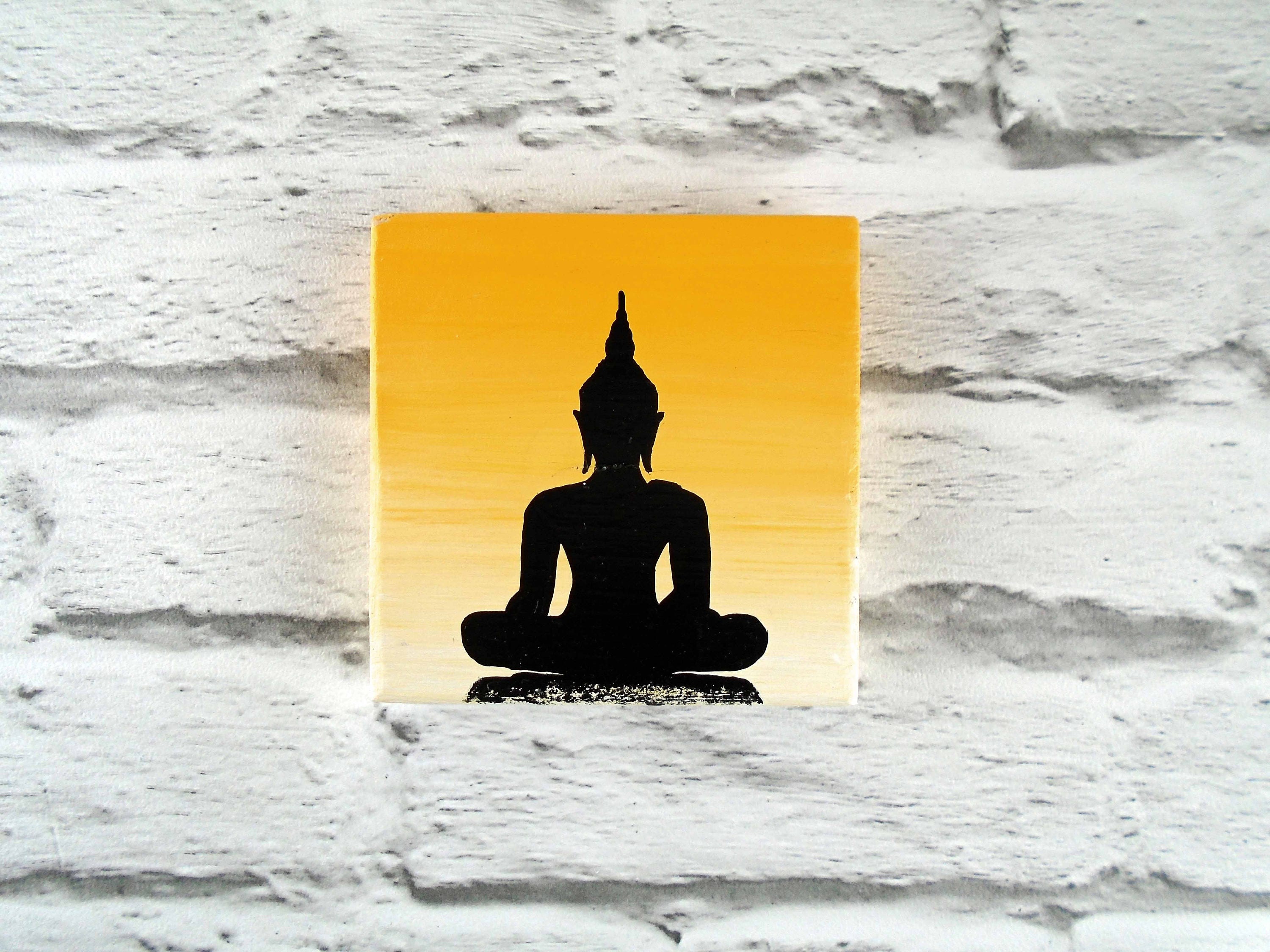 Yellow Buddha painting on wooden plaque Buddhist wall decor