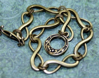 INFINITY  A Simple Delicate Brass Bracelet Lovers Brides Newly Weds