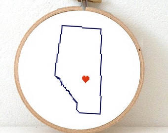 ALBERTA Map Cross Stitch Pattern. Alberta ornament pattern with Edmonton. Canada wedding gift