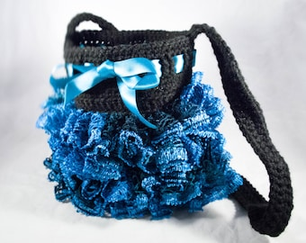 Blue and Black Crocheted Purse