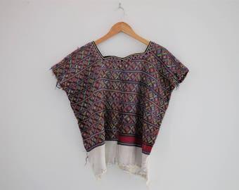 Elaborate Vintage Handwoven + Embroidered Nebaj Huipil