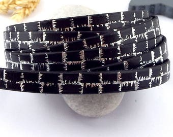 1 meter Black 10mm flat leather print electro silver metal high quality