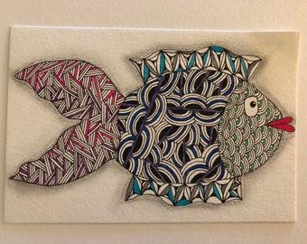 Original art hand-drawn postcard 4x6: zentangle fish