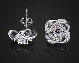 4 clover earrings / dangle earrings chip/luck/earrings CZ stud earring / Silver 925 earrings