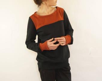 size 40: hazelnut Brown and Black sweatshirt in organic fleece