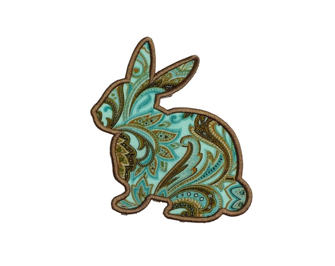 Aqua blue, chocolate brown and golden brown bunny silhouette machine embroidered iron on patch for kids clothing, quick shipping appliques