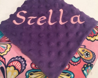 Personalized Minky Baby Girl Blanket, Butterflies, Custom, Made to Order