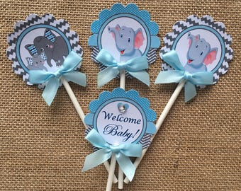 light blue and gray elephant cupcake toppers/ elephant cupcake toppers/ baby shower cupcake toppers/ elephant baby shower