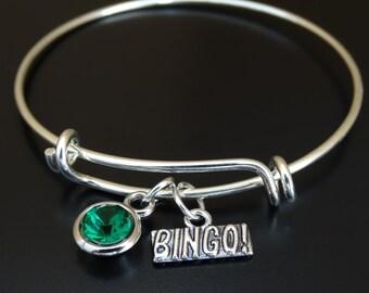 Bingo Bangle Bracelet, Adjustable Expandable Bangle Bracelet, Bingo Charm, Bingo Pendant, Bingo Jewelry, Bingo Game,Bingo Team, Bingo Gifts