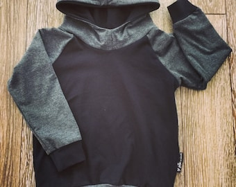 Hoodie for baby and child, bamboo charcoal and black