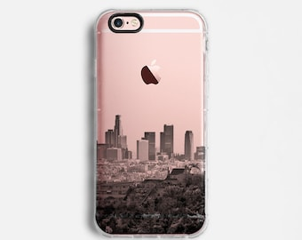 Los Angeles Skyline iPhone X case, iPhone 7 Plus case, iPhone 7 case, iPhone 6s plus case, iPhone 6s case,   clear case, black grey C081