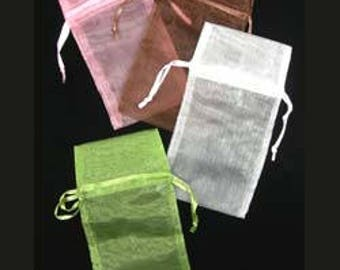 """Organza Drawstring Pouches Assorted Colors  3""""x4"""" (72 pieces) (DBX1293M)"""
