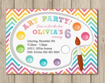 ART BIRTHDAY PARTY Invitation - Art Party - Art Birthday - Girl or Boy
