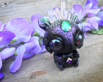 Zardetsky the shape shifter littling// crystals creature sculpture cute ooak shiny art toy doll