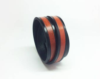Mens/Ladies Saddle tan leather wrap bracelet/cuff with black edging - boho bracelet - Black wrap - hand crafted