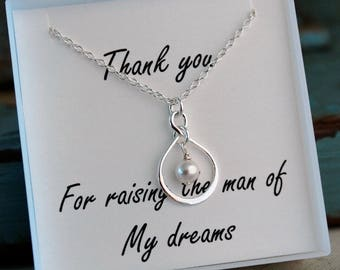 Mother of the Groom Necklace / Sterling Silver Infinity Necklace with pearl or birthstone / Mother of the Bride Necklace