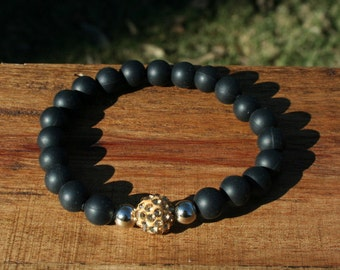 Rustic Silicone Bracelet - Black with choice of Gold or Black or White - 9mm beads
