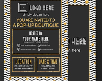 Modern Invitation Cards, Free Personalize, Home Office Approved, Pop-Up Boutique Party Invitation, Launch Party, For Fashion Retailers