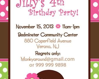 Diy print invitation blaze and monster machines invite blaze monkey invitation girly monkey birthday invitation monkey girl invitation diy print invitations filmwisefo Choice Image