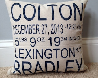 Birth Announcement Pillow - Personalized