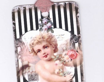 Vintage Cherub Gift Tags , Black and White Stripes , French Tags , Bridal Shower , Putti Tags , Angel Tags , Bluebird Lane
