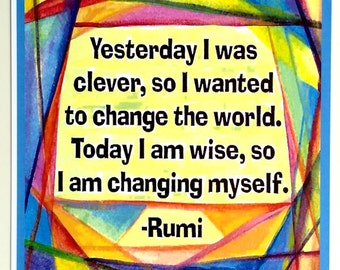 Yesterday I Was Clever RUMI Poster Inspirational Quote Motivational Yoga Meditation Spiritual Home Decor Heartful Art by Raphaella Vaisseau