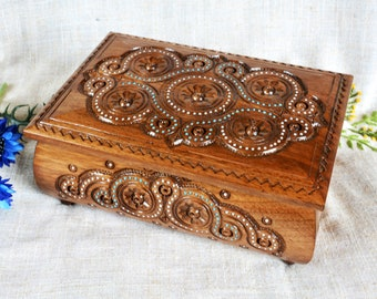 Large jewelry box Lock wooden box Personalized ring box