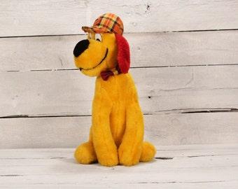 80's dog toy - Plush toy dog - Plush toy dog with cap - Vintage stuffed dog - Toy dog - Toy dog made in Germany - Stuffed animal dog