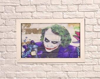 Industrial Joker White Frame Brick Wall Graffiti Style Artwork. Graffiti Style Art. Steampunk & 3D Ceramic Brick Panels and Framed. UK MADE