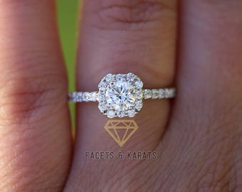 Simulated Diamond Engagement Ring, 1 ctw Promise Ring, Wedding Bridal Ring, Set in Solid 14k White Gold Available in Yellow & Rose Gold
