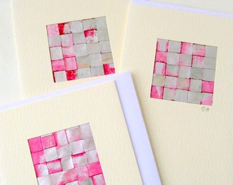 Card pink silver mini picture blank