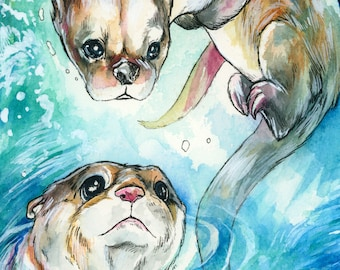 A3 Print ~ River Otters