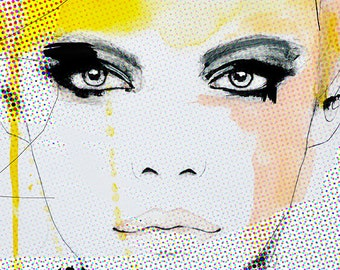 Ruse  - Fashion Illustration Art Print, Woman, Portrait, Mix Media Painting by Leigh Viner
