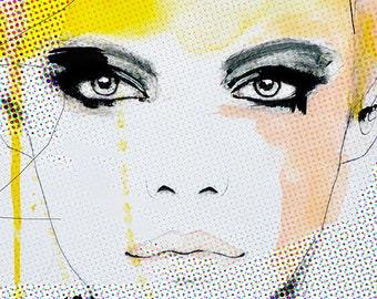 Ruse - mode Illustration Art Print, femme, Portrait, mélange de peinture de médias par Leigh Viner