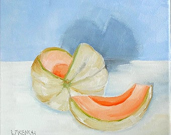 Garden Cantaloupe Fruit Oil Painting Impressionist Lynne French Art 12x12
