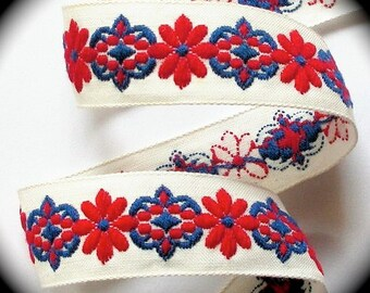"""Vintage Woven Ribbon -  1 """" x 5 yds  Natural, Red and Blue  Multi Floral22"""
