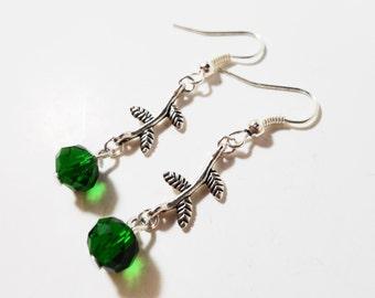 Beaded Flower Earrings, Emerald Green Crystal Bead Earrings, Silver Dangle Earrings, Drop Earrings, Women's Beadwork Jewelry, Gift Idea
