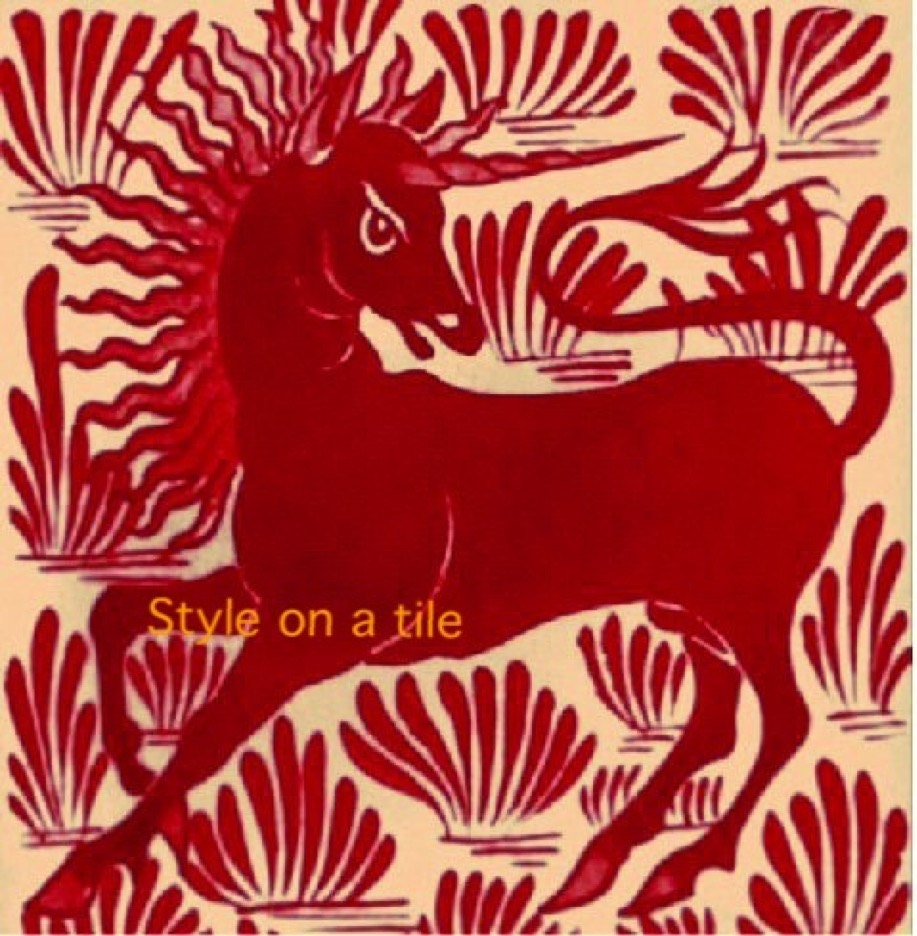 Lovely art and crafts william de morgan red unicorn small ceramic lovely art and crafts william de morgan red unicorn small ceramic tile coaster kitchen bathroom wall splash backs fireplace tile plant stand dailygadgetfo Choice Image