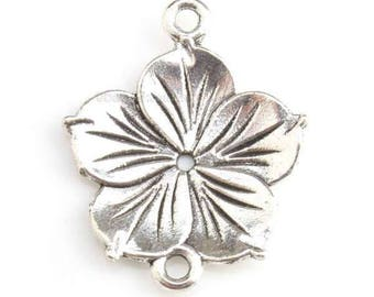 Spacer flowers - Charm's charm pendant silver - 20 mm approx.