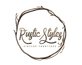 Premade Logo Boho Photography Logo Watermark Business Branding Photography Watermark Calligraphy Logo Rustic Logo Branches Wood Wreath