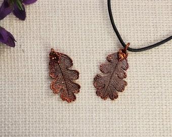 SALE Leaf Necklace, Copper Oak Leaf, Real Lacey Oak Leaf Necklace, Oak, Copper Leaf Pendant, SALE385