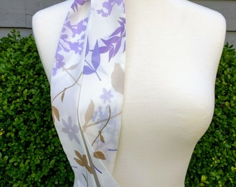 Skinny Scarf, Spring or Summer long scarves, mothers day,botanical scarves for women, neck scarf, neck tie, flower garden scarf, wrap