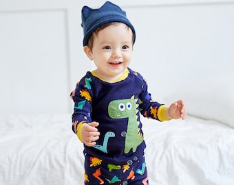 12M-7T 100% Cotton 2pcs Infant Kids Boys Loungewear Pajama Sleepwear Set Dino