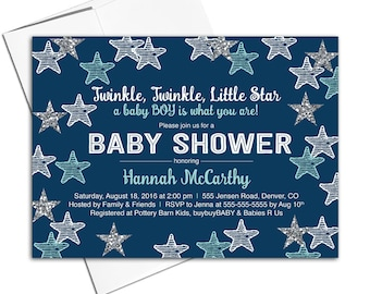 Boy baby shower invitations printable | Twinkle twinkle little star baby shower invites | unique baby shower invitation - WLP00705