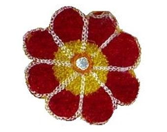 "2 1/2"" Evil Eye Shisha Flower Appliques Vintage 1960's Red Flower Patch, Vintage Sewing Supply, 2 1/2"""