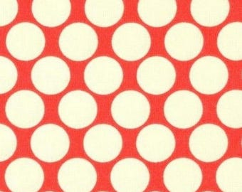 Amy butler red cream polka dot fabric