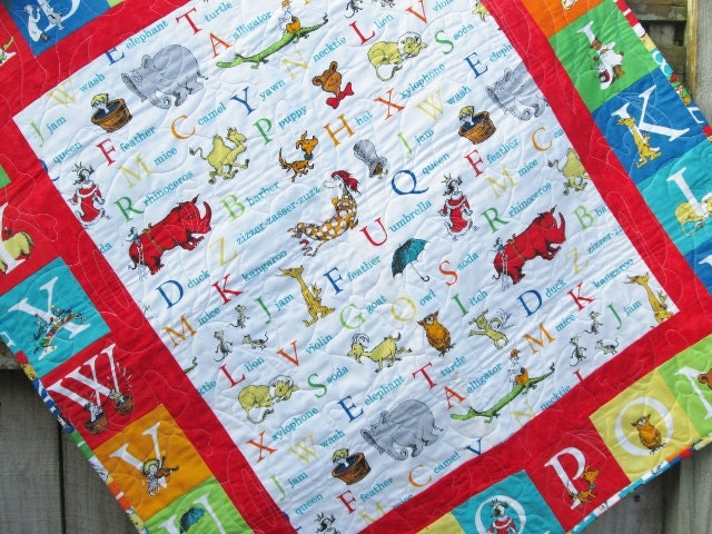 Dr Seuss Baby Quilt abc Unisex Crib bedding Nursery Decor : alphabet baby quilt pattern - Adamdwight.com